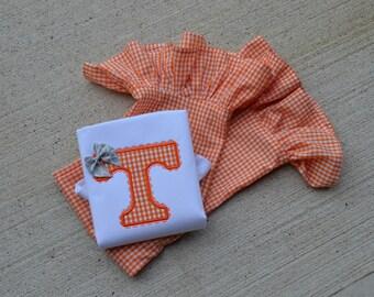 GirlsTennessee Volunteers  Gingham Monogrammed  Ruffle Pant Shirt Set