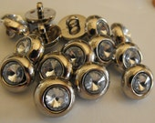 """20 Silver Headlight Small Round Shank Buttons Size 9/16"""""""