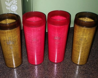 4 Vintage Raffia Burlap Melmac Plastic Tumbler Glasses in beautiful Amber and Deep Pink