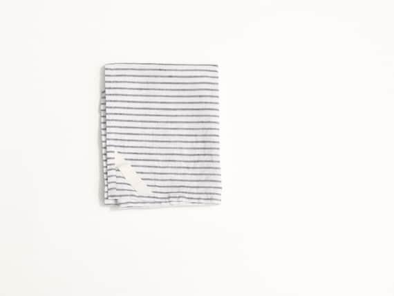 Linen Dish Towel in Black Stripe