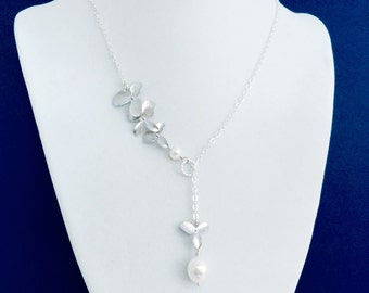 NEW// Silver Orchid Flower Freshwater Pearl Drop Necklace, Lariat, Y Necklace, Sterling Silver Chain