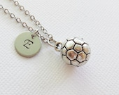Soccer Ball Necklace Football Sport Coach Gift Mom Gift Team Gift Jewelry Silver Necklace Personalized Monogram Hand Stamped Letter Initial