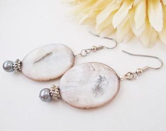 Mother of Pearl, Gray Drop Earrings, Dark Gray Pearl Earrings, Dangle Beaded Earrings, Clip On, Gift for Mom, Wife Birthday Gift for Her