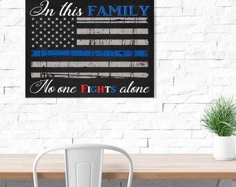 Men in Blue Police Officer USA Flag Police Officer Gift Family No One Fights Alone Police Wife, Police Gift  Blue Stripe. Printed on Wood