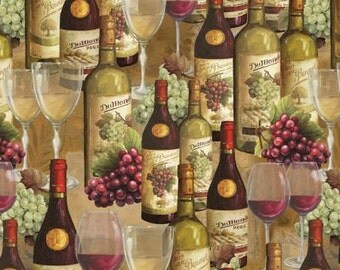 From The Chateau Wine Bottles and Glasses premium cotton fabric by Lisa Audit for Wilmington Prints