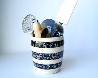 Kitchen Crock, Kitchen Decor, Handmade Wheel Thrown pottery