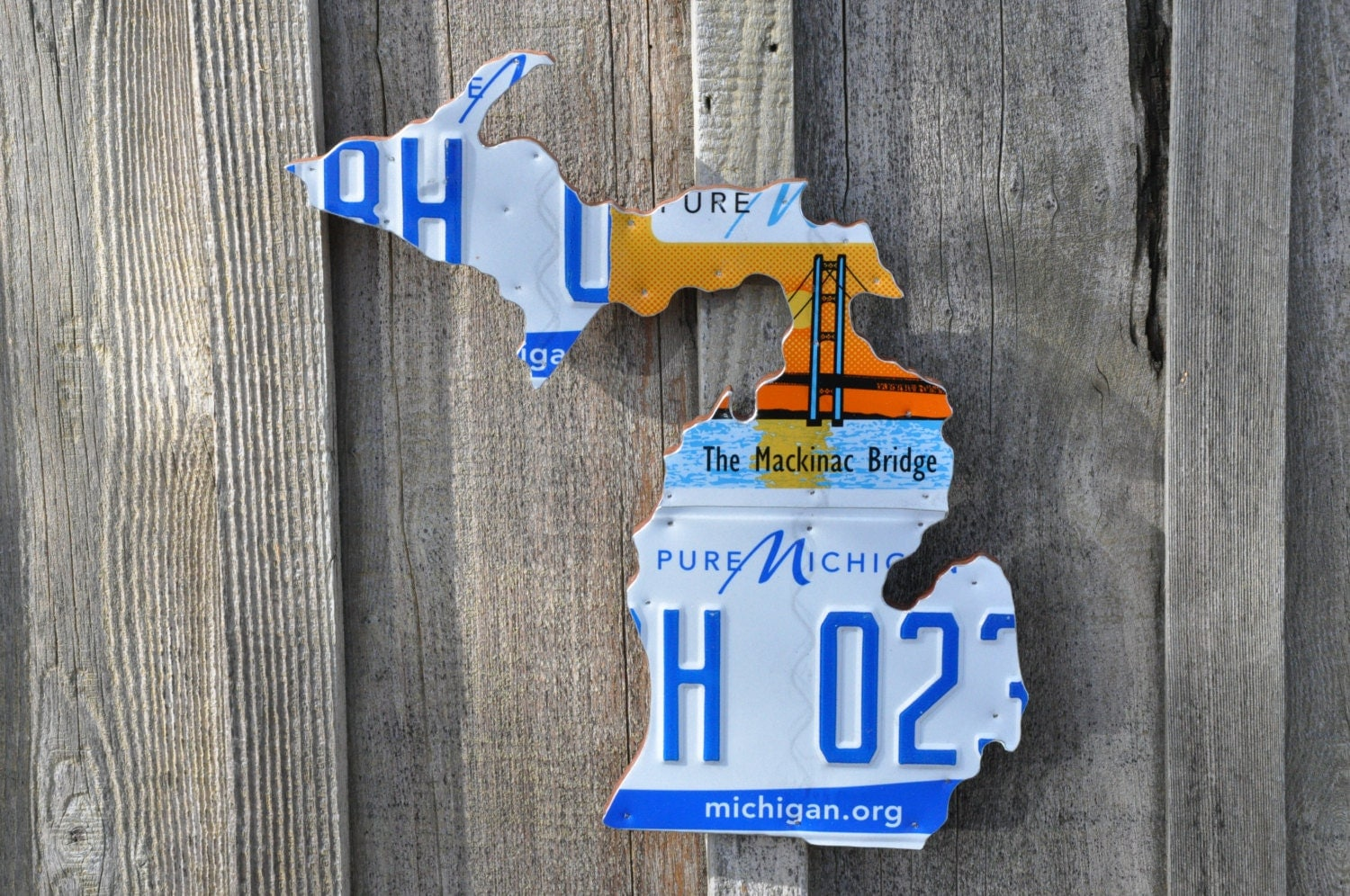 State Of Michigan Recycled License Plate Map Handcrafted Recycled - Us map made out of license plates