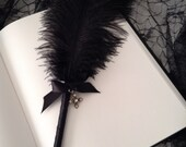 Black Ostrich Feather Pen with Silver Jeweled Pointed Cross