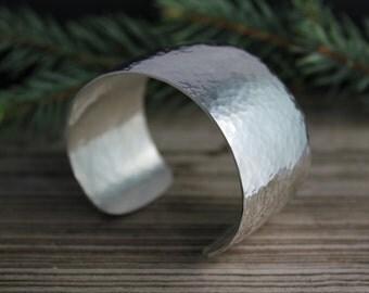Hammered Silver Bracelet - Sterling Silver Cuff Bracelet - Handmade Bracelet - Tarnish Resistant Silver - Hand Hammered - 1.25 Inches Wide