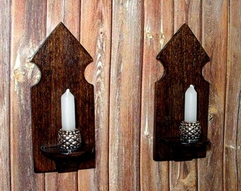 Medieval Candle Sconces, Set of 2, Rustic Dollhouse Miniature 1/12 Scale, Hand Made