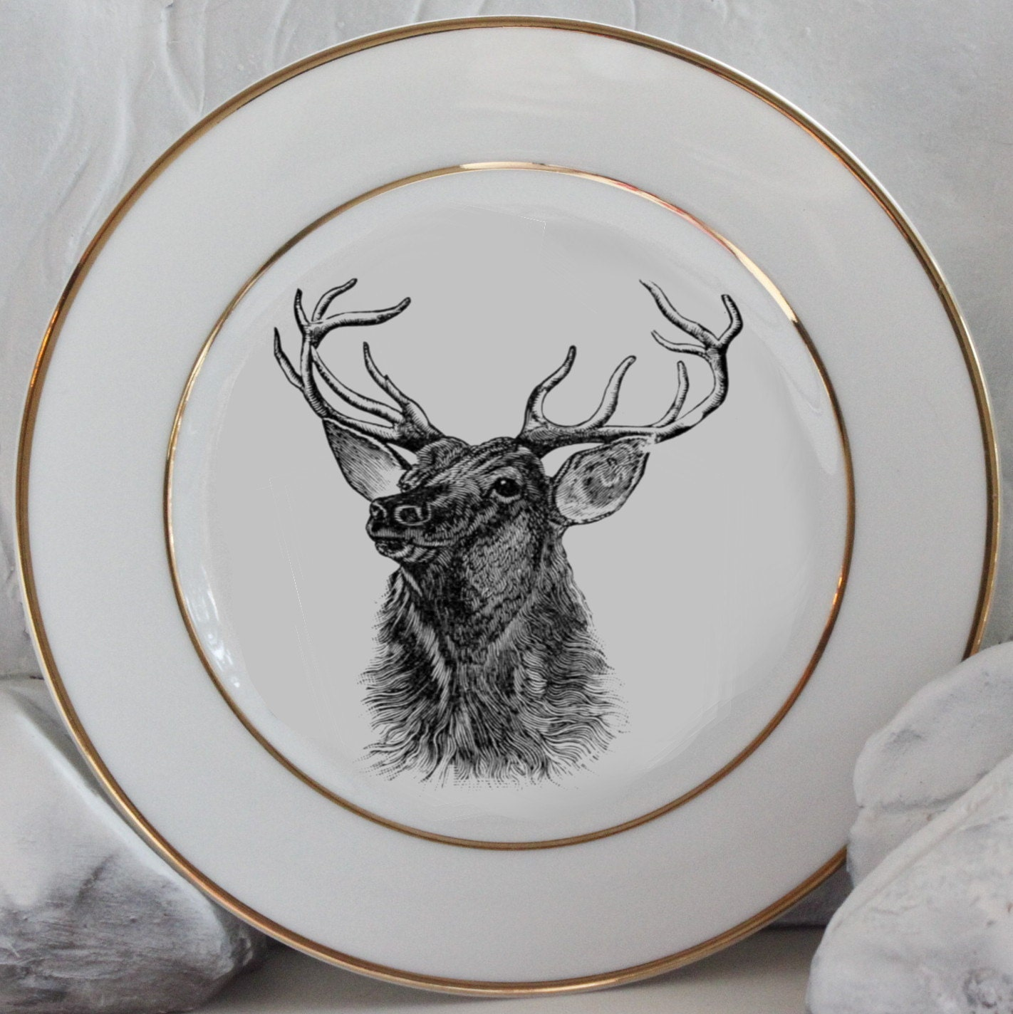 & Gold Deer / Reindeer Plates Dinnerware Dishes Customized