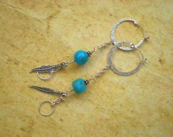 Turquoise sky earrings, sterling silver hoop earrings, turquoise, feather charm, unique jewelry by grey girl designs on Etsy