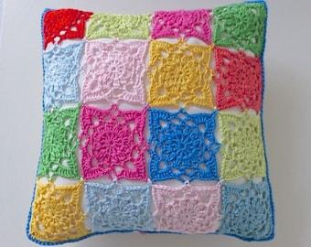 crochet cushion cover, Boho cushion cover, multicoloured removable  cushion cover, decorative cushion, decorative pillow, Free UK postage