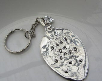 BABY ON BOARD handmade sterling 925 silver key ring Necklace Pendant