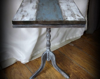 RESERVED~Coastal Beach Pedestal Side Table