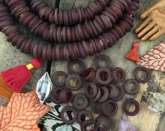 Matte Garnet Red Dutch Donut Dogan Beads, Mali, Africa, Large Hole Glass Beads, Fall Boho Tribal 11-12mm, Jewelry Making Supply, 10 pcs
