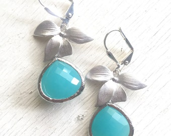 Turquoise Bridesmaids Earrings with Silver Orchid. Drop Earrings. Turquoise Dangle Earrings. Bridesmaid Earrings. Gift.  Christmas Gift.