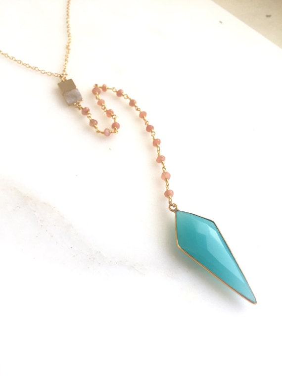 Long Lariat Necklace. Y Necklace. Gold Layer Necklace. Aqua Chalcedony Lariat. Stone Jewelry. Gift. Statement Necklace. Boho Chic Necklace.