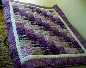 Purple Diagonal Lap Quilt