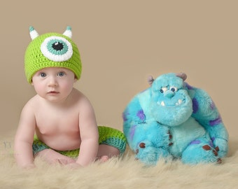 Mike Wazowski (inspired) Beanie and Diaper Cover - Photo Prop - Monsters Inc. - Halloween Costume