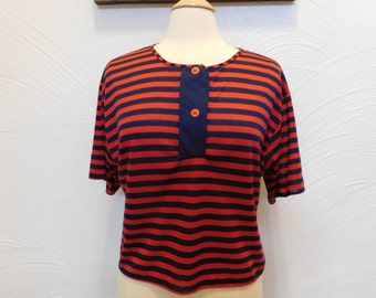 1980s Crop Top Striped Sailor T Shirt - M