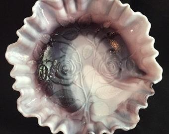 Imperial Glass Purple Slag Milk Glass Bowl Open Rose