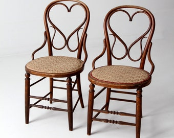antique bentwood chair set/2, heart back wood chairs with floral upholstery