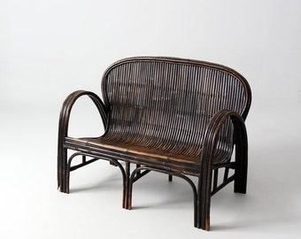 SALE antique Chinese bench, children's rattan love seat