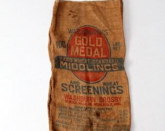 vintage Gold Medal burlap sack, grain sack, farm bag