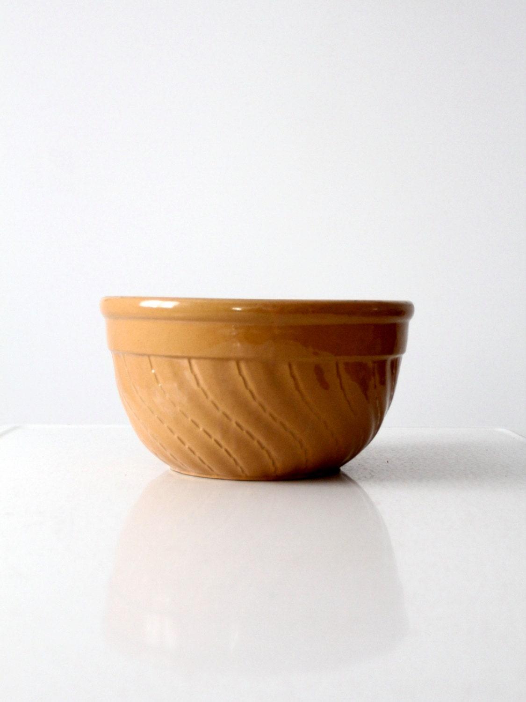 vintage yellow ware bowl stoneware kitchen bowl