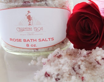 ROSE SALT SCRUB,  Natural Dead Sea, Pink Himalayan Salt, Epsom, & Dendritic Salts with Almond Oil, Crushed Rose Petals, Scented in Rose