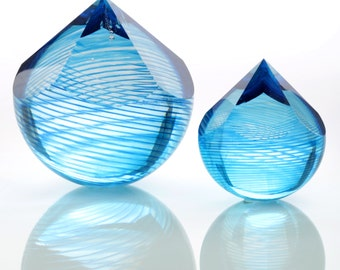 Blue Ice, paperweight, blown glass