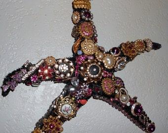 Boho Hollywood regency black bejeweled star fish