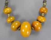 Huge Amber Bakelite Bead Necklace, Vintage Bakelite