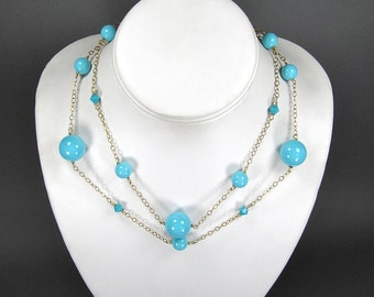 Vermeil Etruscan Necklace, Turquoise Blue Beads, Vermeil, Gold Fill, 80's Retro Jewelry