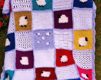 Sheep baby blanket, textured, colourful, soft