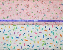 Red Rooster. Rainbow Woodland. Floral Hearts Pink and Feather Toss White - Choose your cut and print