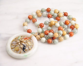 Vintage Multi Color Jadeite Jade Flower Slide Pendant and Jade Bead Necklace 14k Yellow Gold