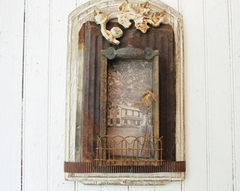 Assemblage Art Shadowbox - Vintage Salvage Metal, Wood, Hardware, Tin, Iron, Farmhouse Photo