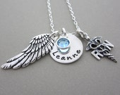 Nurse Angel Protection Prayer...Nurse RN Charm Jewelry Gift w/ Necklace in Sterling Silver Hand Stamped Jewelry Birthstone