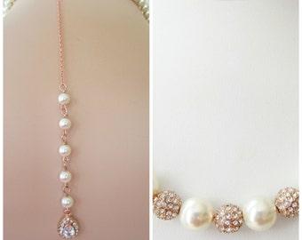 Back Drop Bridal Necklace,Graduated Pearl Necklace-Rose Gold Pearl Necklace-  Pearl Necklace, Rose Gold Bridal Jewelry,Backdrop Necklace