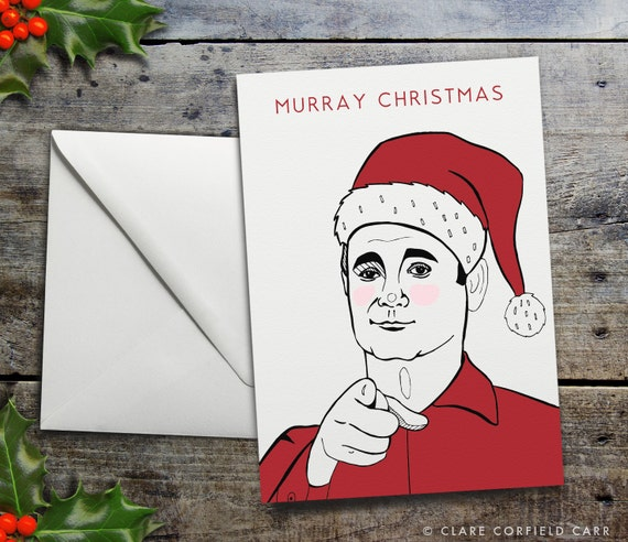 Funny Christmas Card Bill Murray 'Murray Christmas' Funny Pun Christmas Card.