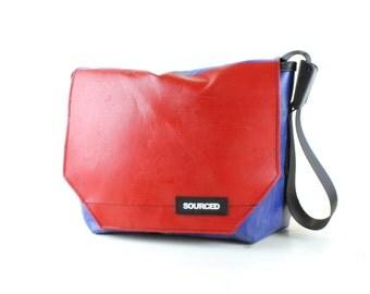 Messenger Bag made from Upcycled Truck Tarp, Water resistant Laptop Bag, Courier Bag, Satchel, Shoulder Bag (N10)