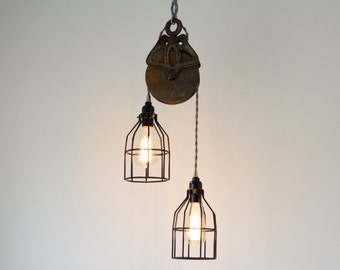 Skeleton Cage Antique Barn Pulley Pendant, Industrial modern lighting