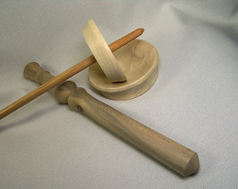 Complete Holly Tibetan Spinning Kit, Tibetan Spindle, Nostpinne and Bowl