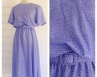 Vintage VIOLET and White 80s Dress w Matching Belt