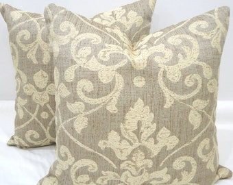 Damask Pillows  Decorative Pillow 18 x 18 Robert Allen Neutral Damask Fabric