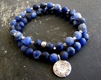 Boho Bracelet Stack Gemstone Bracelet Stretch Bracelet Boho Jewelry Tribal Silver Bracelet Evil Eye Bracelet Boho Jewelry Wiccan Jewelry