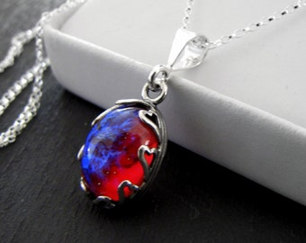 Sterling Silver Heart Necklace Dragon's Breath Fire Opal Sterling Silver Necklace Wiccan Jewelry Gothic Jewelry Valentine's Day Gift for Her