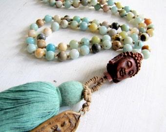 Mala Necklace Tassel Necklace Boho Necklace Gemstone Mala Beach Jewelry Meditation Beads Yoga Bead Amazonite Mala Natural Gemstone Necklace